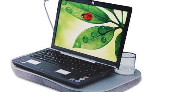 Podložka pod notebook s LED lampičkou – stolek s měkkým polštářem položíte na kolena a vesele pracujete
