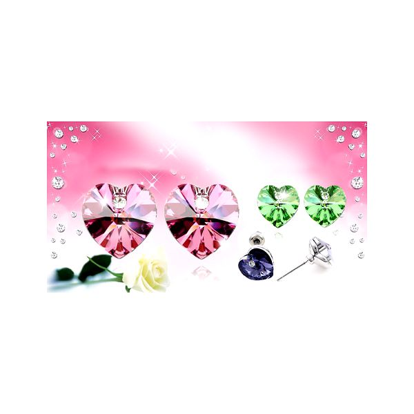 Krásné porhodiované NÁUŠNICE s komponenty SWAROVSKI Crystallized v šesti barvách ve tvaru srdíčka nyní za 229 Kč VČETNĚ POŠTOVNÉHO! Sluší každé ženě.