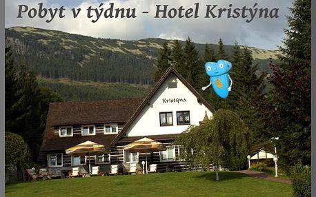POBYT PŘES TÝDEN, Krkonoše, 2 osoby, 3 dny, polopenze, Hotel Kristýna, Špindlerův Mlýn! Krkonoše přímo vybízejí k procházkám a posezení pro romantické duše, k turistice, i cykloturistice. Pro krátké vydechnutí od pracovního stresu ideální dovolená pro všechny, kteří nechtějí trávit své prázdniny ve městě! Špindl, Krkonoše, hotel Kristýna = zábava, příroda, sport, pohodlí a sleva 51% !!!
