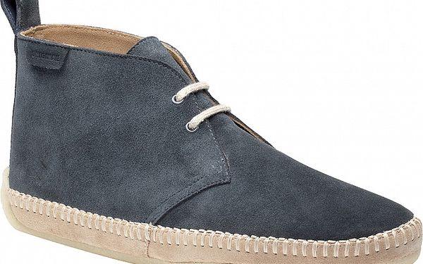 Pánské tmavě šedé kotníkové boty Clarks s prošívanou platformou