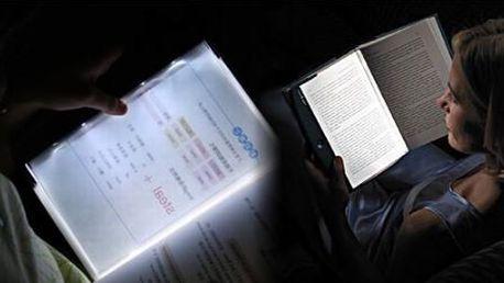 Světelný LED panel osvětlující stránku knihy!