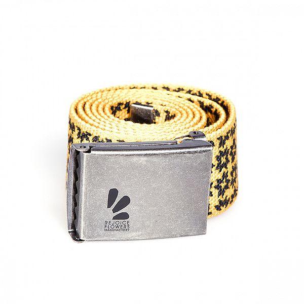 Žlutý pásek Rejoice s kovovou sponou a veselým potiskem
