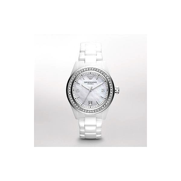 cd1f69b99ff Dámské bílé keramické hodinky Emporio Armani s krystaly Swarovski
