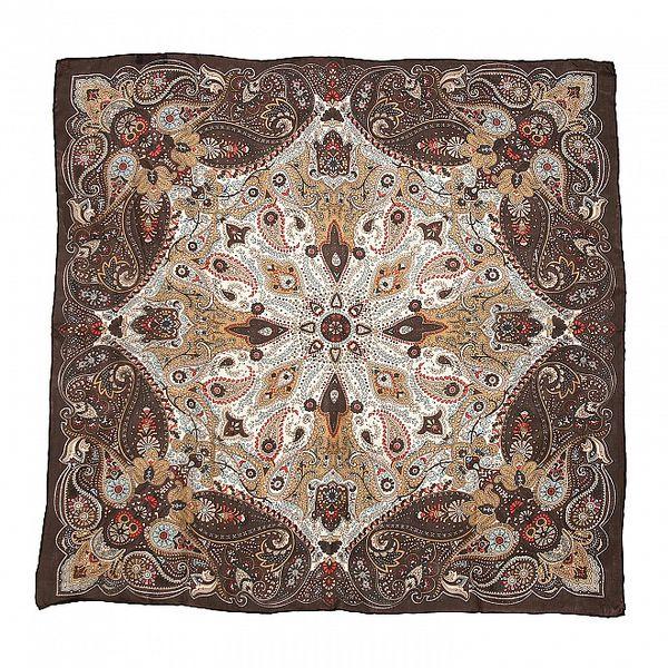 Tmavě hnědý hedvábný šátek s orientálním vzorem