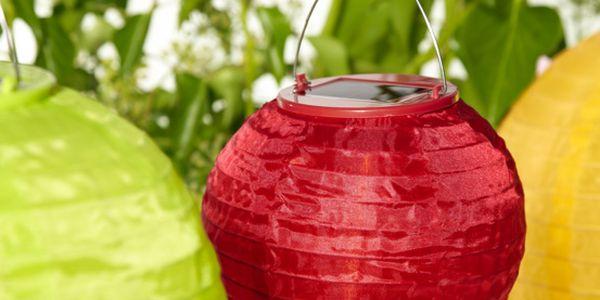 Solární lampion s LED, červený