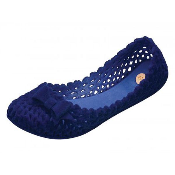 Dámské tmavě modré perforované baleríny Mel s matnou semišovou úpravou