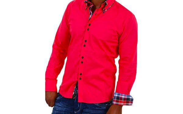 05 Pánská košile s dlouhým rukávem - fuchsia