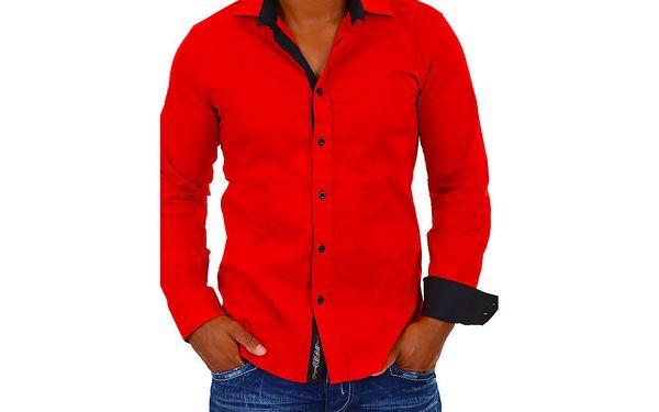 02 Pánská košile s dlouhým rukávem - červená