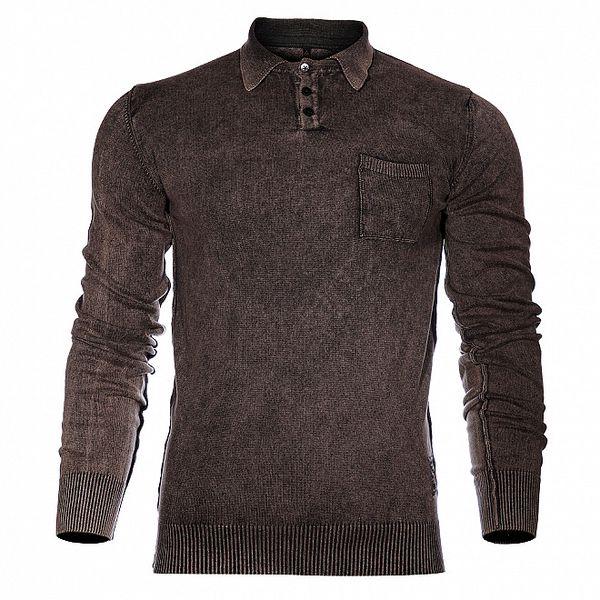 Pánský kouřově šedý svetr Pepe Jeans s límečkem