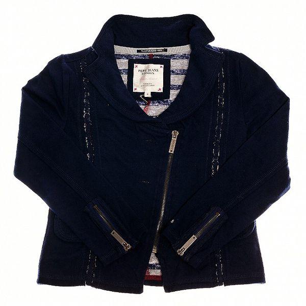 Dětský tmavě modrý kabátek Pepe Jeans s asymetrickým zipem