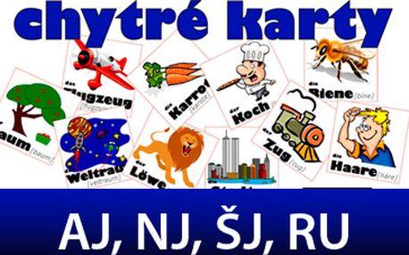 Skvělých 93 Kč za CHYTRÉ KARTY! Na výběr anglický, německý, španělský nebo ruský jazyk formou slovíček, anglický jazyk slovesa, nepravidelná slovesa, frázová slovesa 1 a 2!
