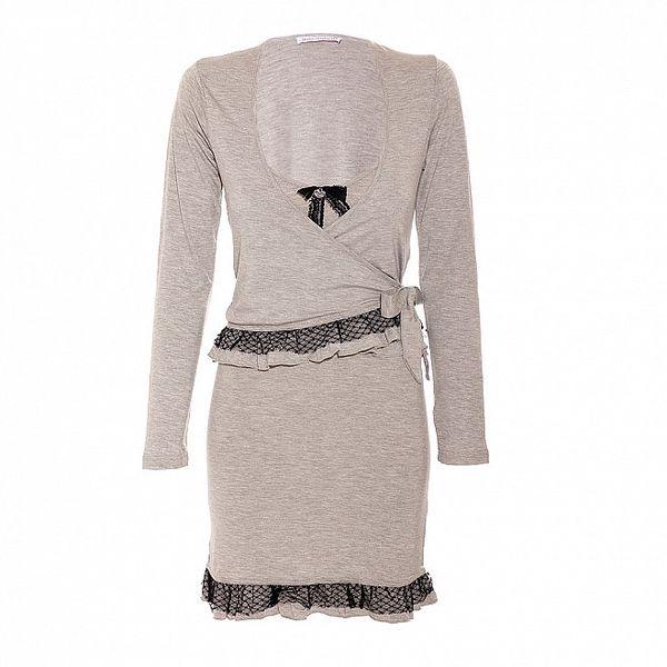 Komplet dámské noční košilky a svetříku v šedé barvě