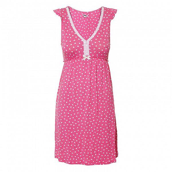 Růžová noční košilka se srdíčky DKNY