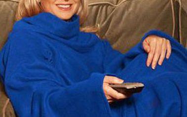 Skvělá cena – JEN 129 Kč za fleecovou hřejivou DEKU SNUGGIE s rukávy v barvě vínové nebo modré!