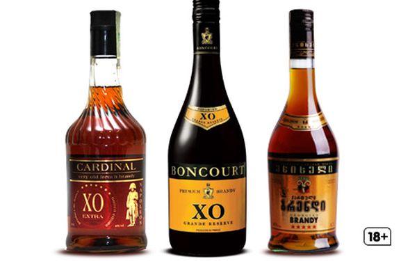Láhev prvotřídní brandy – limitovaná Cardinal Brandy XO, Gruzínská brandy zrající 5 let nebo Boncourt XO Grande Reserve