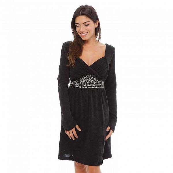 Dámské černé šaty Ada Gatti s korálkovou aplikací na pásku