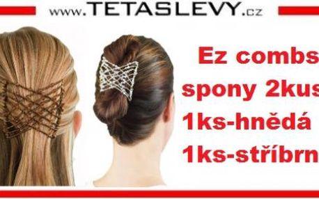 Vlasové spony sada 2ks ez combs hnědá+stříbrná v sadě za cenu 140kč poštovné je zdarma