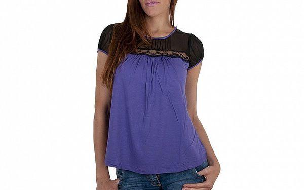 Dámské fialové tričko Relish s krajkou