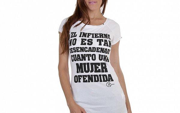 Dámské bílé tričko Relish s černým potiskem