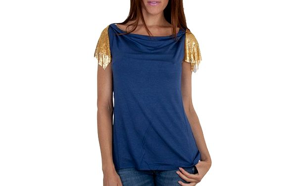 Dámský tmavě modrý top Relish se zlatými rukávky