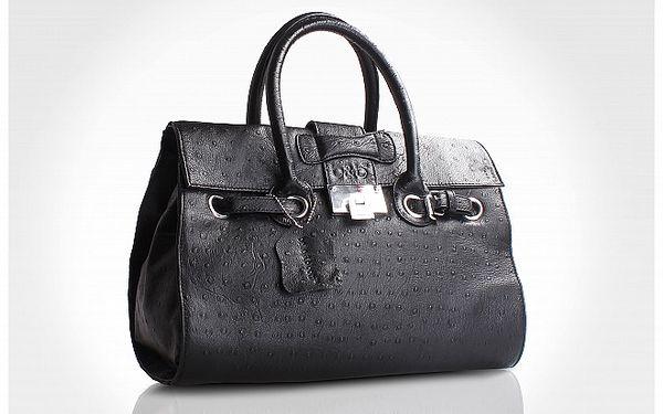 Černá kufříková kabelka Belle & Bloom s pštrosím motivem