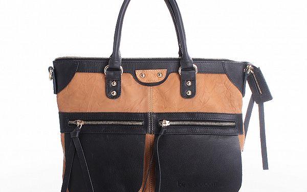 Dámská kabelka Belle & Bloom v kombinaci černé a velbloudí barvy