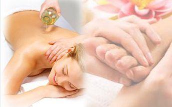 Dopřejte svému tělu 40minut relaxace a odpočinku a vyberte si Relaxační masáž zad a šíje,nebo uvolňující masáž nohou s prvky reflexologie za skvělých 120,-Kč v příjemném prostředí za svitu svíček a doprovodu relaxační hudby s použitím vysoce kvalitních přírodních olejů značky Saloos