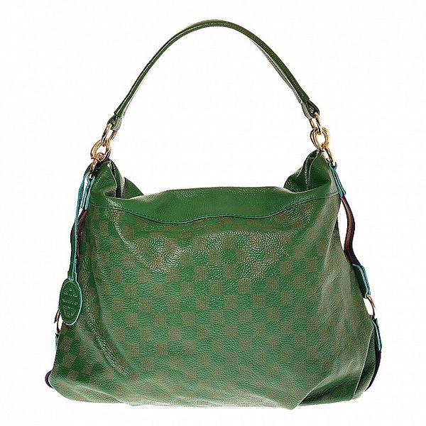Dámská zelená kožená kabelka Hope s motivem šachovnice