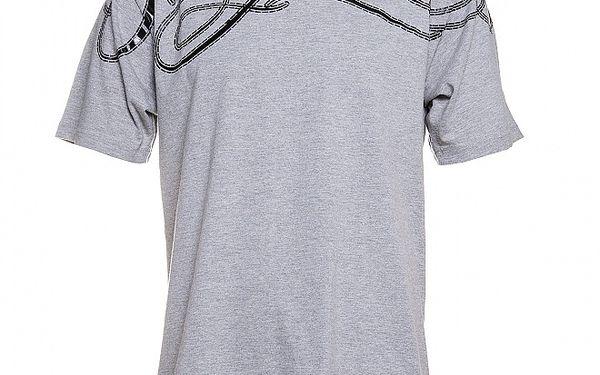 Pánské šedé melírované triko Phat Farm s černým potiskem