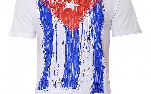 Pánské bílé tričko Free Wave s kubánskou vlajkou