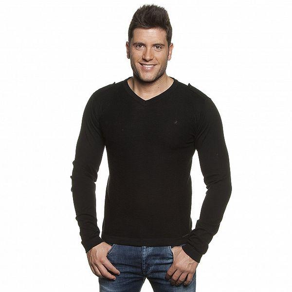 Pánský černý žebrovaný svetr Lois s nárameníky