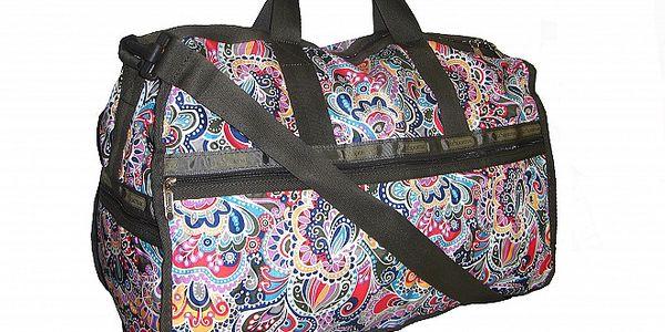 Dámská velká tmavě zelená cestovní taška Le Sportsac s barevným potiskem