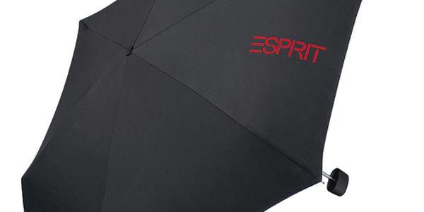 Černý skládací deštník Esprit s červeným logem