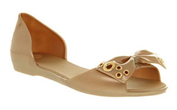 Dámské zlaté sandály Mel s pevnou patou a kovovými aplikacemi