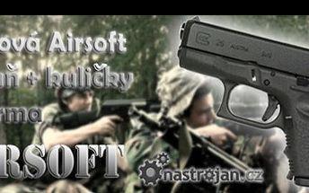 Kovová G26 Airsoft kuličkovka Glock se slevou 50 %: Splňte si svůj chlapecký sen a staňte se akčním hrdinou s manuální zbraní s kovovým tělem. Navíc si otevřete dveře k modernímu druhu vojenského sportu a získáte balíček kuliček ZDARMA.