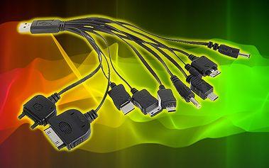 USB univerzální nabíječka 10v1 pro mobilní telefony, pda, psp, mp3, gps apod.!