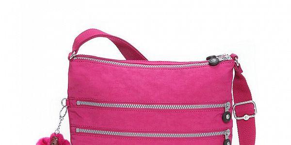 Dámská sytě růžová taštička Kipling s ozdobnými zipy