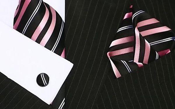 Binder set 276 - černá s růžovým pruhem elegantní