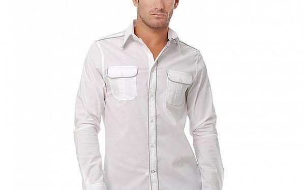 Pánská sněhově bílá košile s detailem Guess