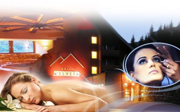 BEAUTY & SPA POBYT voblíbeném hotelu Velveta*** ve Špindlerově Mlýně pro 1 osobu jen za 1950 Kč! 3 DNY/ 2 NOCI, POLOPENZE, whirlpool, parní lázeň, solární louka, trampolína, minigolf, profesionální líčení a další! SLEVA 50%!