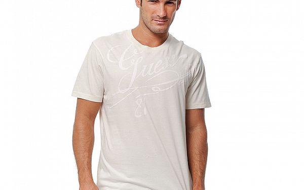 Pánské krémové tričko Guess s potiskem