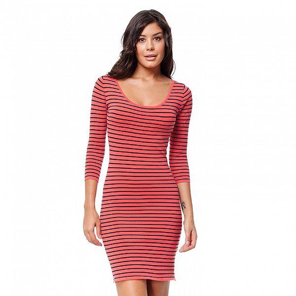 Dámské korálové proužkované šaty Guess