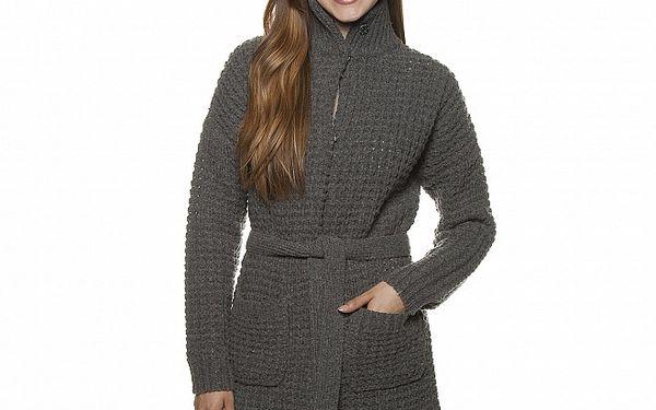 Dámský tmavě šedý dlouhý pletený kabát Armand Basi