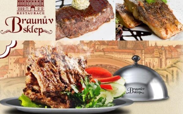 Historická restaurace BRAUNŮV SKLEP!! VŠECHNA JÍDLA a rozlévaná vína BEZ OMEZENÍ se slevou 55% v restauraci v centru Prahy - Karlovo náměstí!
