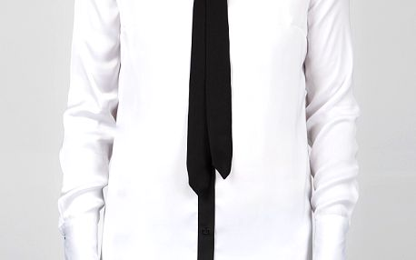Dámská bílá saténová košile Dex s černými detaily a vázankou