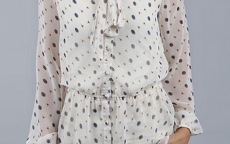 Dámská bílá transparentní košile Dex s potiskem a vázankou