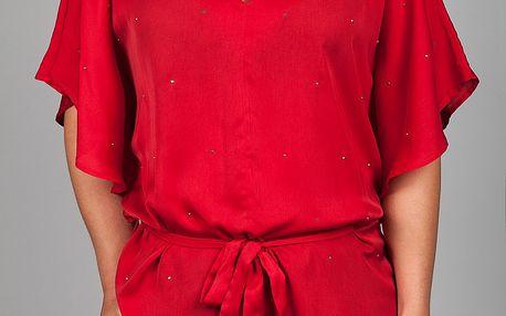Dámský sytě červený saténový top Dex s kovovými nýtky