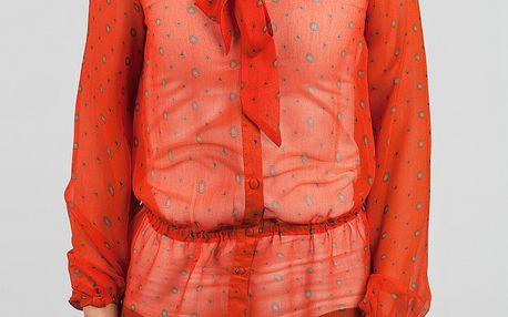 Dámská červená transparentní košile Dex s potiskem a vázankou