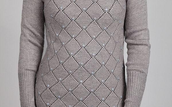 Dámský světle šedý vzorovaný svetr Dex s kamínky