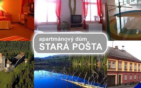 ŠUMAVA APARTMÁNY – pobyt na 3 nebo 4 dny pro 2 osoby v nádherných apartmánech v apartmánovém domě Stará Pošta v centru horského městečka Hartmanice. Užijte si výlety pěšky nebo na kole nejkrásnější podzimníŠumavou!